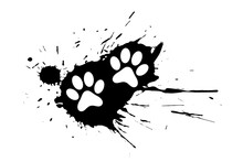 Dog Or Cat Paw Print On Black Splatter