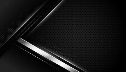 black background with silver geometric shapes