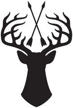 Vector Deer Head With Horns And Crossed Arrows
