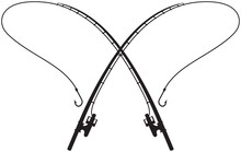 Fishing Rods Crossed Vector Illustration
