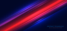Technology Futuristic Background Striped Lines With Red Light Effect On Dark Blue Background.