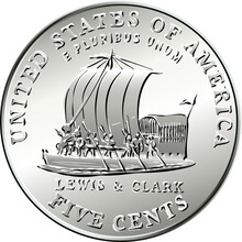 Jefferson Nickel, American Money, USA Five-cent Coin With Keelboat Of Lewis And Clark Expedition On Reverse In Honor Of Bicentennial Of Expedition