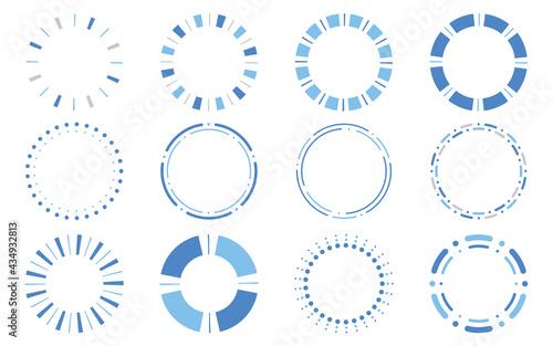 丸型・円形のシンプルフレームセット ブルー