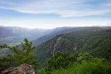 Spectacular View Of A Mountain And The Waterfall During Monsoon. A Scenic Site From Munar, Kerala, India.