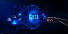 ROI Return On Investment Financial Market Stock Trading Concept. Hand Pressing Button On Screen