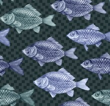 Texture From Hand Drawn Large Fish With Scales. Carps, Perches And Dorado In A Seamless Pattern For Textiles And Fashion Designs