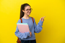 Student Kid Woman Over Isolated Yellow Background Pointing Finger To The Side