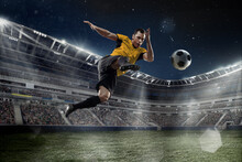 Professional Male Football, Soccer Player On Stadium Background. Caucasian Fit Athlete Practicing, Playing Excited In Flight