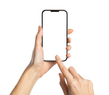 Woman Hand Using Smartphone Isolated On White Background