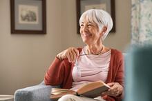 Happy Senior Woman Smiling At Home
