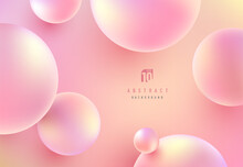 Abstract Liquid Fluid Circles Pink, Red And Yellow Color Background With Copy Space. 3D Sphere Shape Pastel Color Design. Creative Minimal Bubble Trendy Gradient Template. Vector Illustration