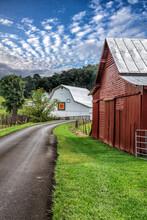 Two Barns On Rural Road In North Carolina