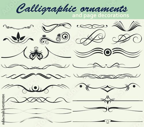 Foto Vector set of elegant page decoration and ornamental swirls