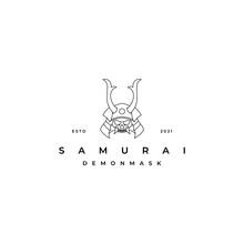 Line Art Samurai Logo Design Inspiration. Samurai With Demon Face