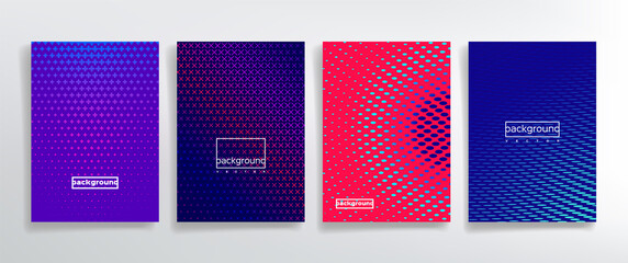 Decorative point cover templates vector kit. Layout Corporate journal perforated tone patterns. Style cover page leaflets abstract trendy. Dots and cross elements design. Vertical colorfull background