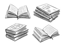 Books Collection. School, Study Concept. Hand Drawn Vector Illustration In Sketch Style