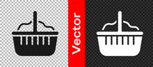 Black Basket Icon Isolated On Transparent Background. Happy Easter. Vector