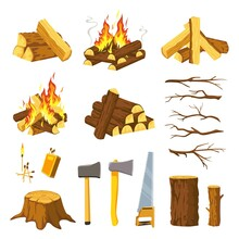 Wood Campfire. Tree Logs Pile, Branches, Lumberjack Ax, Saw And Matches For Make Bonfire. Burn Firewood Stack With Flames, Timber Vector Set