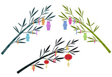 Tanabata Japanese Traditional Festival Background Banner. Bamboo Decorated With Paper Lanterns. Vector Illustration