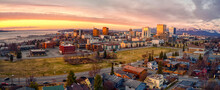 Aerial View Of A Sunset Over Downtown Anchorage, Alaska In Spring