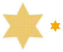 Six Corner Star Halftone Dotted Icon Illustration. Halftone Pattern Contains Round Points. Vector Illustration Of Six Corner Star Icon On A White Background.