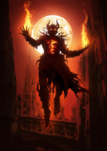 A Sinister Demon Looms Majestically In The Air In The Midst Of Gothic Cathedrals, Its Chest Bursting With Mystical Flames, Fire Burning In Its Clawed Palms. 2d Illustration.