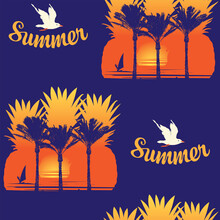 Tropical Seamless Pattern With Inscriptions, Seagulls, Silhouettes Of Pineapples, Palm Trees And Surfers At Sunrise Or Sunset On A Dark Blue Backdrop. Vector Background On A Topic Of Summer Sea Travel