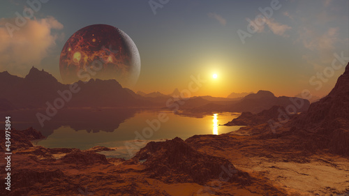 Foto 3D rendering of Volcano Planet above alien world