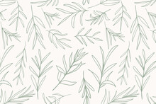 Sage Green Vector Leaves, Botanical Seamless Repeat Pattern. Random Placed Herb Plants All Over Print On Ecru White Background.