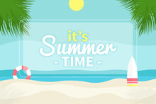 Summer Beach Background With Trees In Flat Design