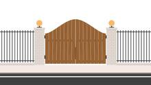 Wooden Driveway Gates. Wood Door. Arch Brick Door. Railing Vector. Wall Fence. House Gate Vector.