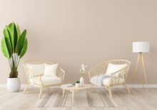 Brown Living Room With Copy Space, 3D Rendering