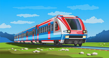Vector Coloful Page With 3d Model Modern High-speed Train And Bright Landscape. Beautiful Vector Illustration With Train Travel. Scatch Train Graphic Vector