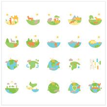 Biodiversity Flat Icons Set. Consists Of Desert, Grassland, Tundra, Freshwater, Rainforest, Coral Reef, Ecosystem Icons. Biodiversity Concept. 3d Vector Illustrationsd