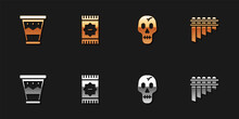 Set Mexican Drum, Carpet, Skull And Pan Flute Icon. Vector