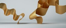 3d Render. Abstract Fashion Background With Golden Wavy Folded Ribbon Inside White Room. Gold Metallic Foil Scroll
