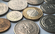 Polish Zloty Coins On White Background.Close Up Photography.