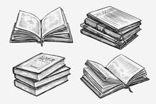 Hand Drawn Books Set. Education Concept Vintage Sketch Vector Illustration