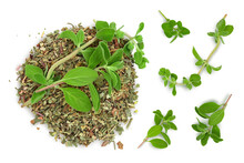 Oregano Or Marjoram Leaves Fresh And Dry Isolated On White Background With Clipping Path. Top View. Flat Lay