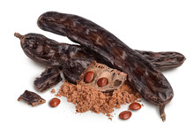 Carob Pod And Powder Isolated On White Background With Clipping Path And Full Depth Of Field.