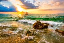 Sunset Ocean Sailboat Illustration Painting