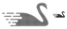 Swan Halftone Dotted Icon Illustration. Halftone Pattern Contains Circle Elements. Vector Illustration Of Swan Icon On A White Background. Flat Abstraction For Swan Symbol.