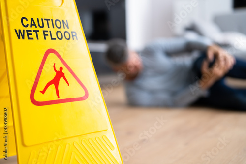 Canvas Slip Fall Accident. Floor Sign Caution