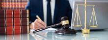 Lawyer Or Judge Criminal Litigation Banner. Law