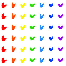 Seamless Pattern Of Check Marks Arrows Of Rainbow Colors. Grunge Texture. Hand Drawn Ink Brush Bright Multicolored Stains Design Elements. LGBT, CSD Pride,National Coming Out Day. Vector Illustration