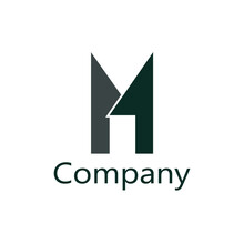 Abstract Gray And Dark Green Letter M Logo