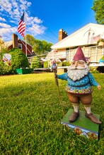 Garden Gnome, Lawn Gnome, Summertime ,American Flag