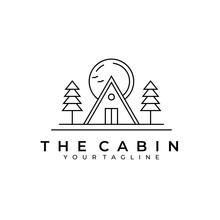 Wood Cabin Line Art Illustration Logo Minimalist Design Creative Vector Icon Outdoor