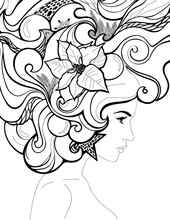 Winter Woman With Hair Made Of Snowflakes, Fir Branches, Christmas Decorations And Poinsettia.  Place For Logo And Text. Cover Book, Cover Magazine, Booklet, Brochure, Poster, Banner For  Hairdresser.