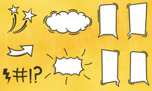 Illustration Collection Of Blank Comic Speech Bubbles In Various Shapes With Halftones, Hand Drawn. Elements Of Posters, Cards, Banners, Leaflets, Comic Books, Social Media.